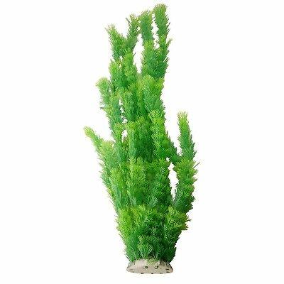 "Aquarium Decor Fish Tank Decoration Ornament Plastic Plant Green 21"" Tall"