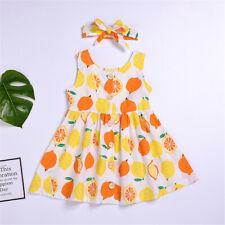 NWT Girls Lemon Citrus White Yellow Orange Sleeveless Dress /& Headband Set
