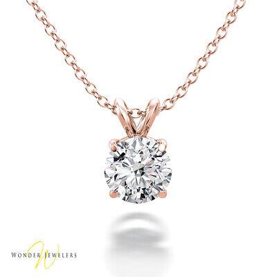 0.7ct GIA Round Diamond Solitaire Necklace Pendant 14K Gold E/VS1 (1287967619)