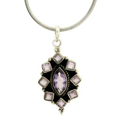 Faceted Purple Amethyst Pendant Sterling Silver February Birthstone