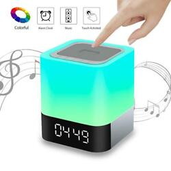 VIVOHOME Rechargable Bluetooth Speaker Night Light Touch LED Lamp Alarm Clock US