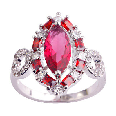 Clearance Sale Gifts Ruby & Pink Topaz & Amethyst Gemstone Silver Ring Sz 6 789