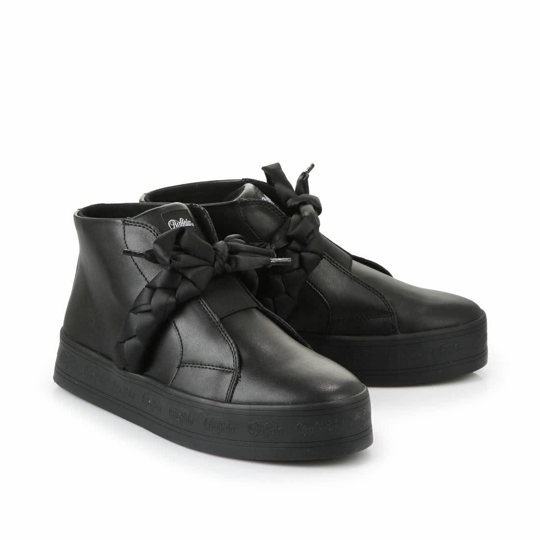 NEU Buffalo Plateau-Slip On High-Top Gr. 41 Sneaker schwarz Lederoptik NEU