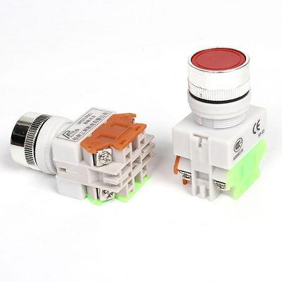 2 Pcs Red 22mm Stopstart No Lamp Push Button Switch 660v 10 Amp