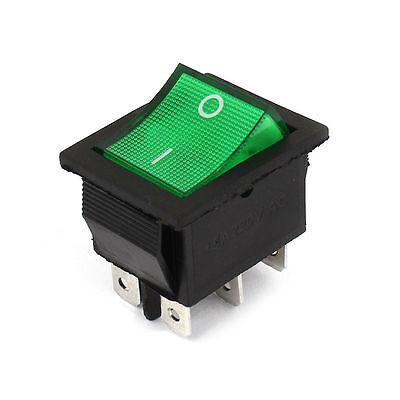 1pcs Illuminated Green Light Dpdt On-off Snap In Rocker Switch Ac 220v 15a