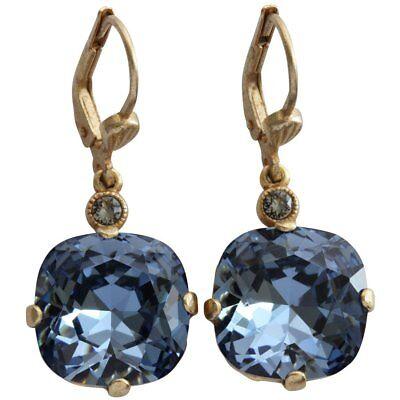 CATHERINE POPESCO La Vie Parisienne Gold MIDNIGHT BLUE 12mm Swarovski Earrings for sale  USA