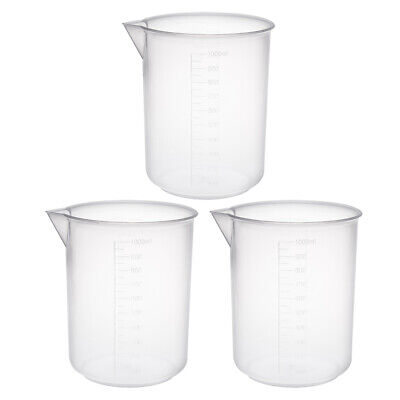 3pcs Measuring Cup Labs Pp Plastic Graduated Beakers 1000ml