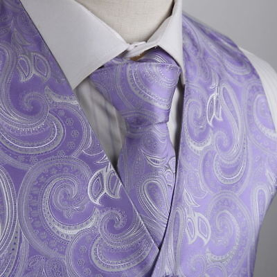 XL Purple/White Paisley Microfiber Vest and Tie Prom/Wedding By - Gray And Purple Wedding