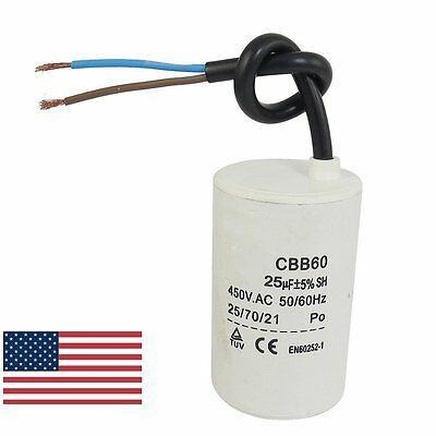 Us Cbb60 25uf Wire Lead Cylinder Motor Run Sh Capacitor Ac 450v