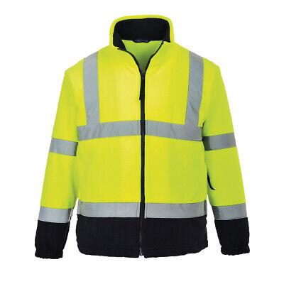 Hi Vis Soft Fleece Work Safety Reflective ANSI Class 3 Zip Jacket Portwest UF301 - Fleece Reflective Jacket