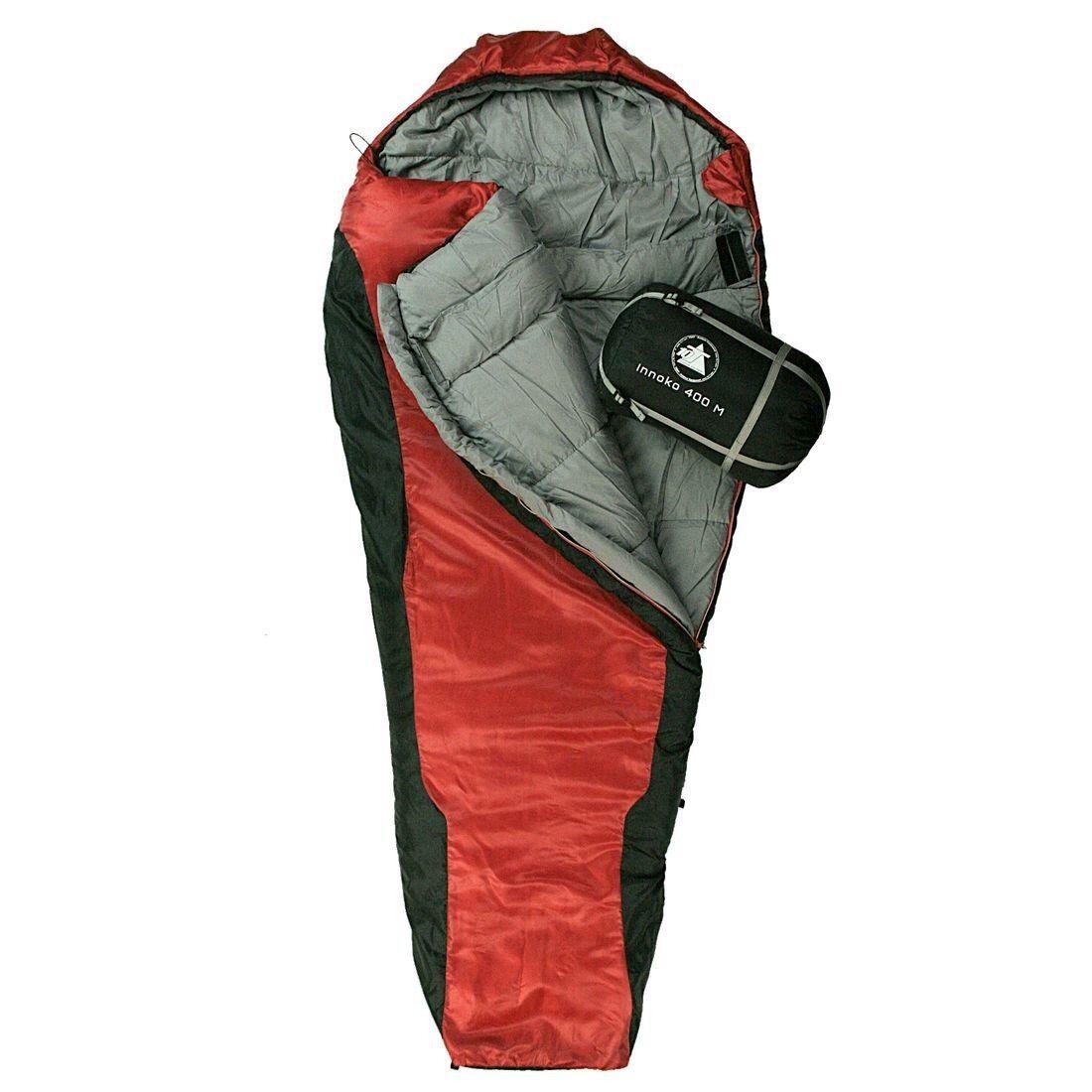 10T Innoko 400M - Sacco a pelo a mummia singolo invernale 200x85/55 cm, nero/ros