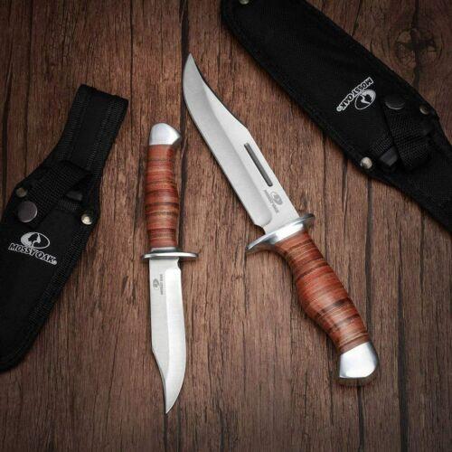 Mossy Oak 2-Piece Bowie Knife, Fixed Blade Hunting Buck Knife Set with Sheath