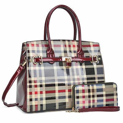- Dasein Women Handbag Patent Leather Satchel Bag Tote Medium Purse Wallet 2 Pcs