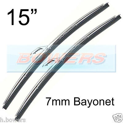 """PAIR OF 14""""/15"""" STAINLESS STEEL CLASSIC CAR WIPER BLADES 7mm BAYONET FITTING"""
