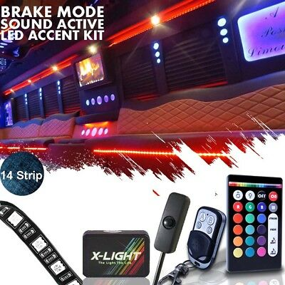 Glow Lights For Parties (14 Strip LED Remote Custom Accent Neon Glow Light Kit For RV/LIMO/PARTY BUS)