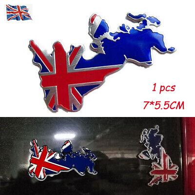 1x 3D England Union Jack GB Map Chrome Car Badge Metal Symbol Decal Sticker Van