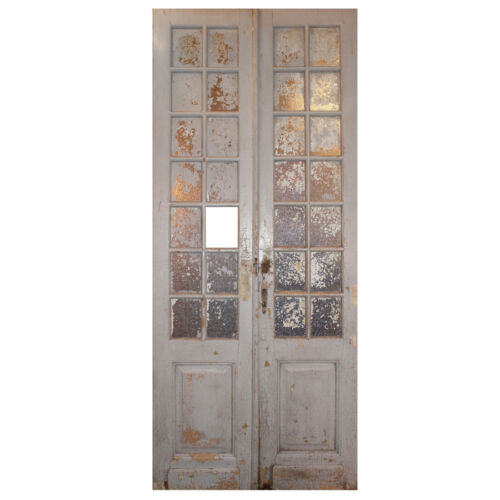 "Salvaged Pair of Antique 46"" Double Doors with Glass, NED1157"
