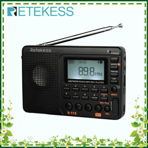 V115 Portable FM/AM/SW Radio World Band Rechargeable MP3 Pla