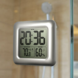 Baldr Shower Wall Clock Bathroom Digital LCD Waterproof Table Hygrometer Temp