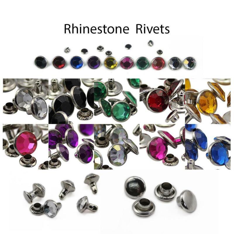 100PCS Rhinestone Rivets For Garments, Leatherwork DIY Belts Crafts