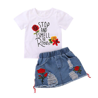 Kids Baby Girls Summer Outfits Clothes T-shirt Tops+Casual Denim Skirt 2 PCS Set