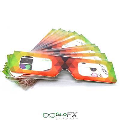 GloFX Paper Cardboard Diffraction Glasses – Geometric Rainbow 10 Pack Party Club