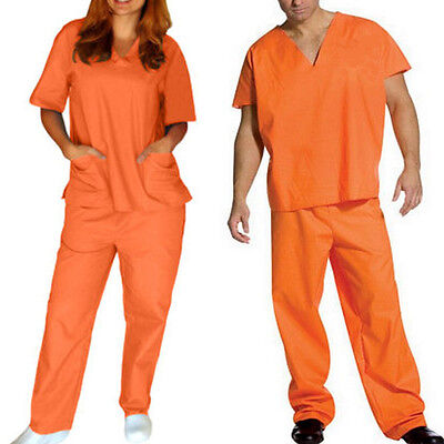 Orange Convict Costume (Orange Prisoner Scrub Convict Inmate Jail Unisex set Top and Pants For)