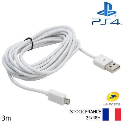 CABLE USB 3 mètres BLANC POUR RECHARGER MANETTE PLAYSTATION 4 PS4