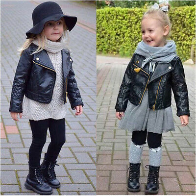 Autumn Winter Kids Baby Boys Girls Leather Jacket Short Overcoat Clothes Outwear - Kids Boys Leather Jacket