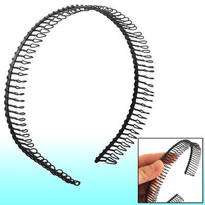 Woman Metal Teeth Comb Hairband Hair Hoop Headband Black