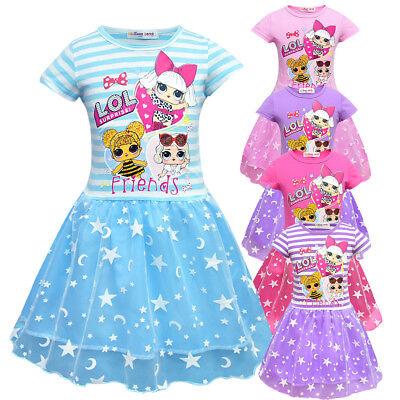 Children Kids Girls Short Sleeve LOL Surprise Dolls Pleated Party Princess Dress