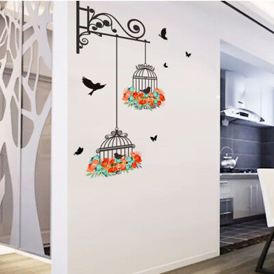 Unique Birdcage Painting Bedroom Room TV Wall Decoration Wall Sticker Decor