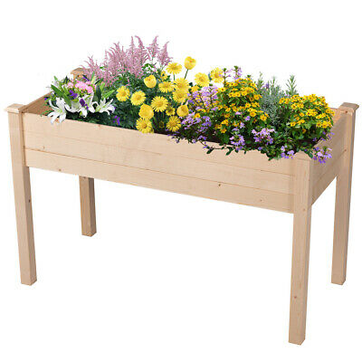 Outdoor Patio Wooden Raised Garden Bed Elevated Planter Flower Box Natural Color - Wood Flower Box