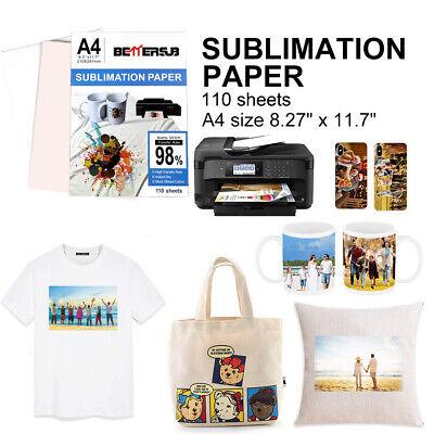 110 Sheet A4 Iron On Heat Transfer Sublimation Paper Injet Mug T-shirt Printing