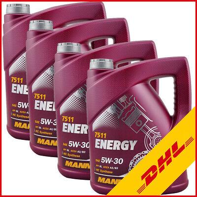 4x 5 Liter 5W-30 Motoröl MANNOL Energy 5W30 VW 502.00 505.00 ACEA A3 B3 MB 229.3 (Pkw-motoren)