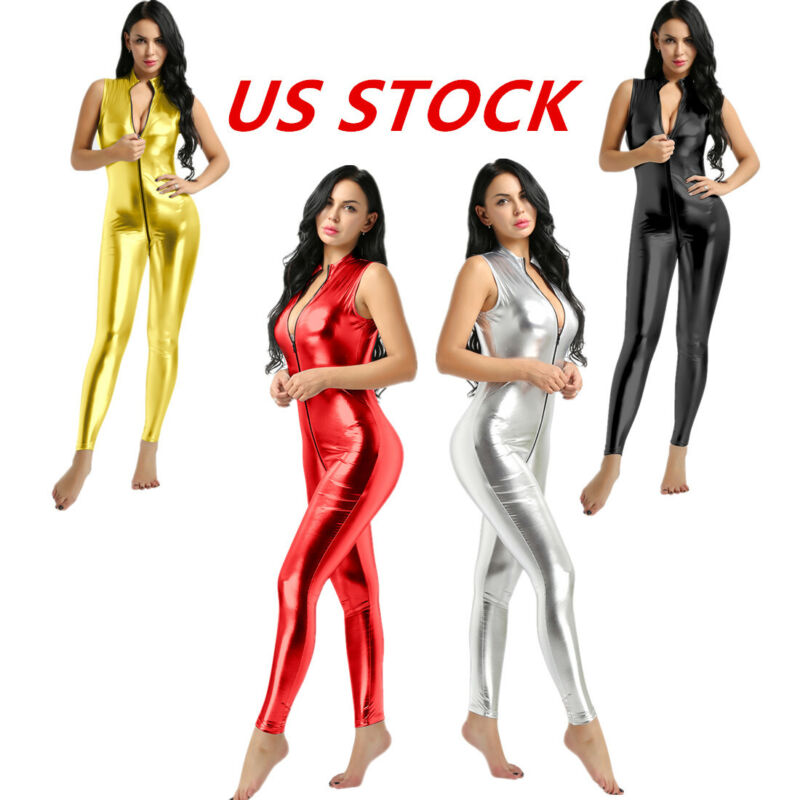 Women Lingerie Romper Open Crotch Pantyhose Gloves Catsuit Night Club Costume