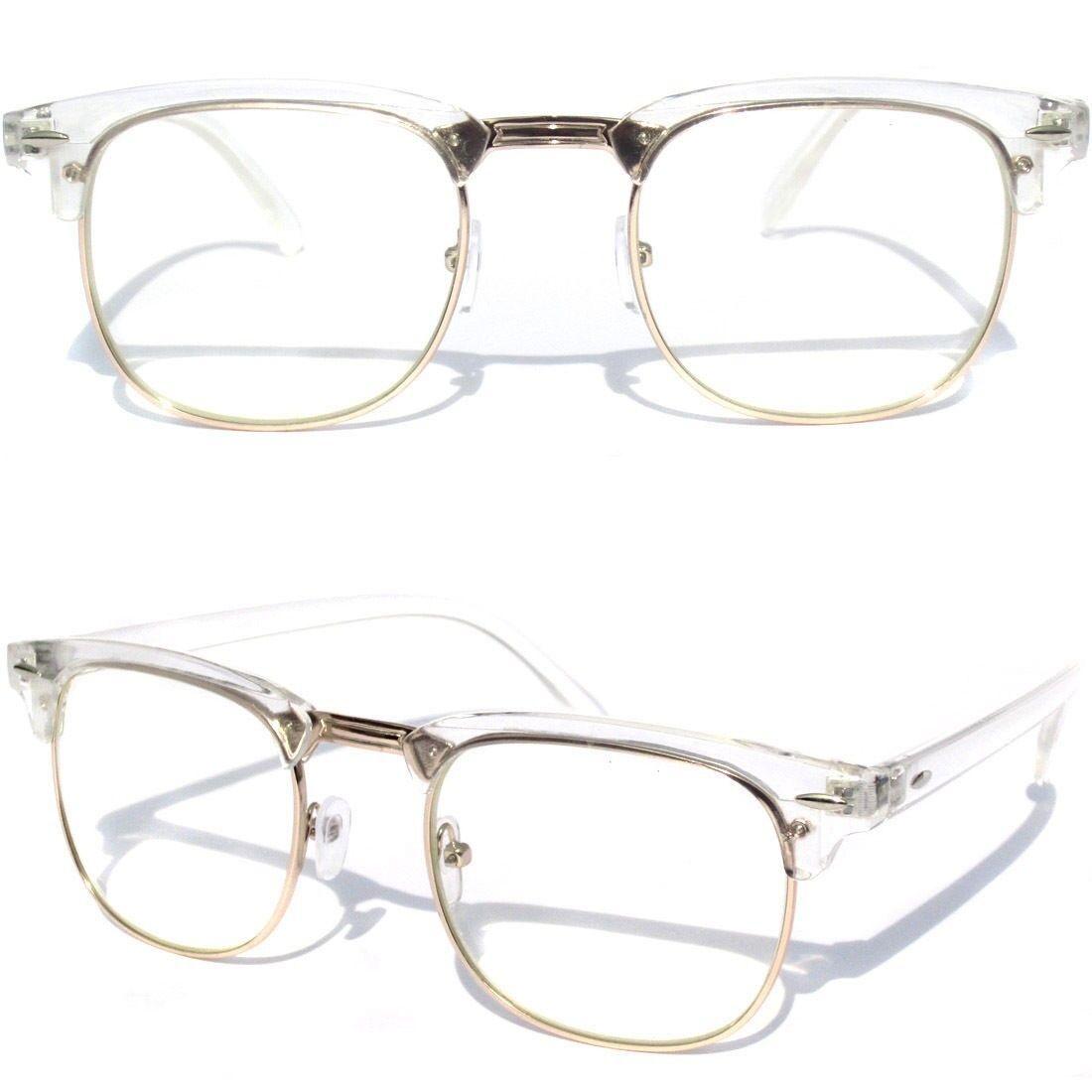 7e90329e78 Details about Men s or Women Half Frame Clear Lens EYE GLASSES Transparent  Crystal Half Top