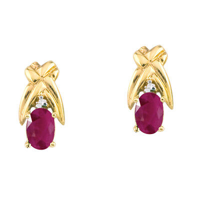 14k Yellow Gold 6x4mm Oval Ruby and Diamond Stud Earrings 14k 6x4mm Oval Ruby Earring