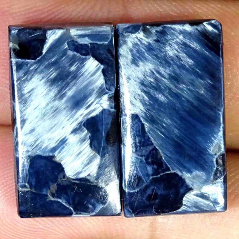 18.30Cts Natural Blue Pietersite Cushion Pair Cabochon Loose Gemstone 11x21x4mm