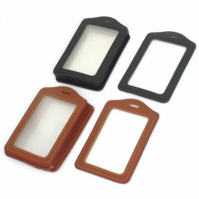 Office Staff Black Brown Faux Leather Name Tag Employee Id Card Holder 10pcs