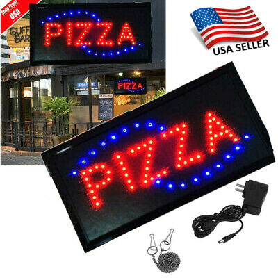 Pizza Animated Motion Led Business Sign Open W Onoff Neon Light Bs