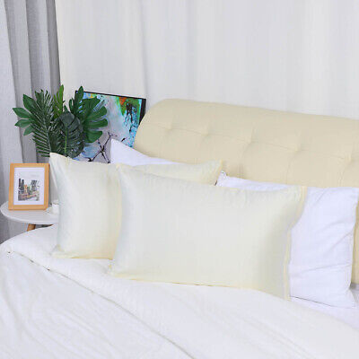 2 pcs zippered silky satin pillowcases cream