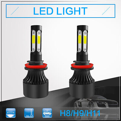2pcs LED H8/9/11 6000K Light Bulb 4 Side Headlight Kit For 2002-2012 Audi A4 Audi A4 Abs Light