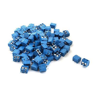 100pcs 2p Plug-in Screw Terminal Block Connector 5.08mm Pitch Blue C5p4