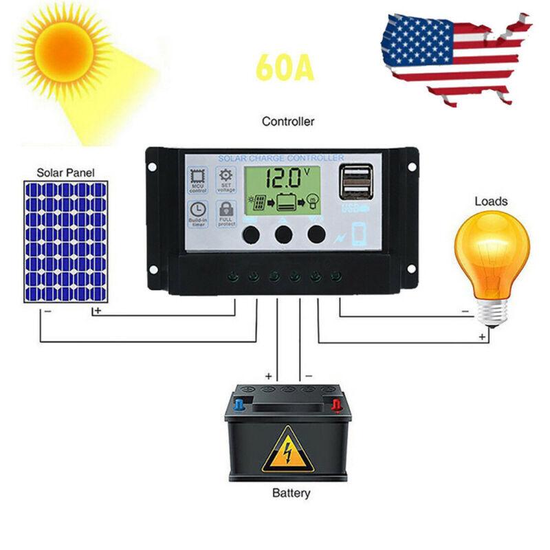 Solar Panel Regulator Charge Controller USB 60A 12V-24V With