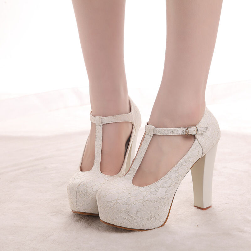 """4.5"""" heel white ivory lace crystal pearls Wedding shoes pumps bride size 5-10"""