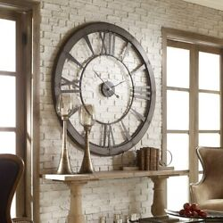Oversized 60 Farmhouse Open Wall Clock Round Metal Rustic Gray Large Roman
