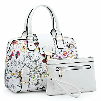 Dasein Women Handbag Croco / Flower Satchel Shoulder Bag Purse Matching Pouch