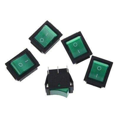 5x Dpst 4-pin Green Led Onoff Rocker Switch Square Push-in 15a240v 20a120v Ac