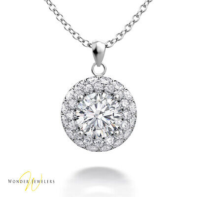 1.13ct GIA Round Diamond Halo Necklace Pendant 14K White Gold D/VS2(2306758138)